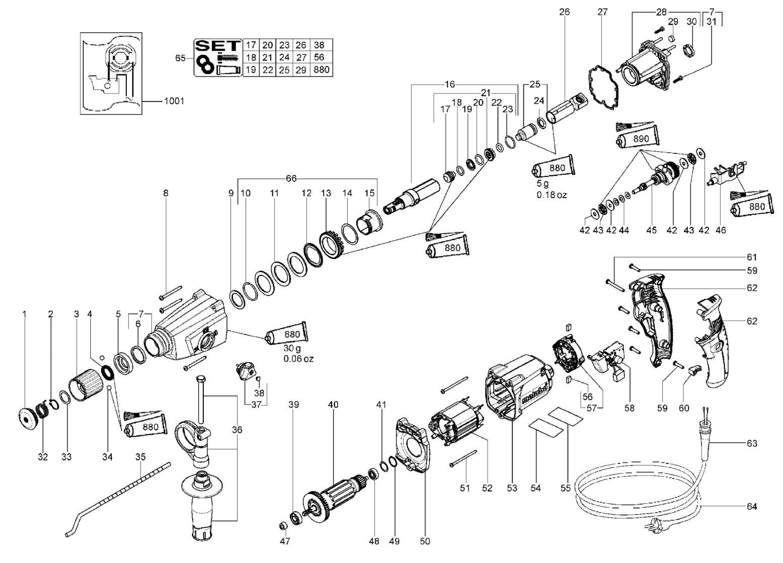 Схема сборки перфоратора metabo